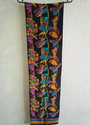 Красочный веселый 💯 шелковый шарф с попугайчиками, шов роуль