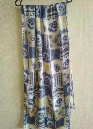 Очень красивый 💯 шелковый шарф, анютины глазки, шов роуль