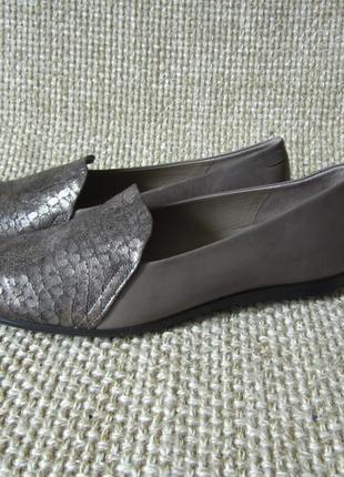 Кожаные лоферы, туфли, балетки ecco touch ballerina 2.0 scale womens warm grey