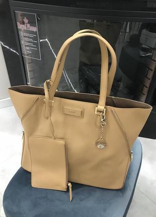 Кожаная сумка шопер dkny