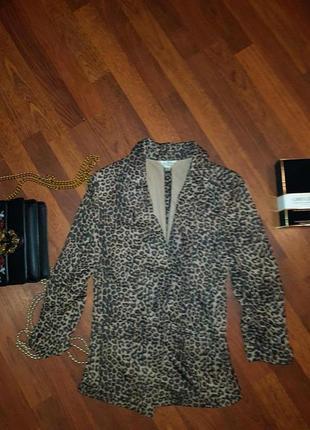 Пиджак леопард три четверти рукав