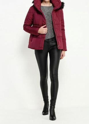 Стильная куртка, пуховик, цвета бордо, марсала