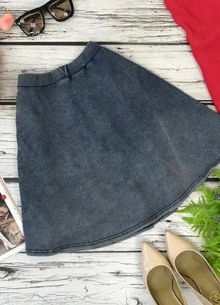 Юбка -полусолнце из трикотажа с имитацией джинсы.  ki1833033  new look
