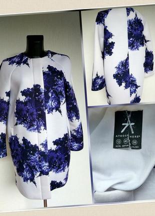 Фирменное стильное качественное пальто кардиган в цветочном принте.