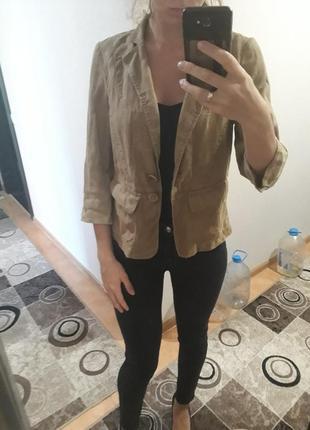 Стильный  коричневый пиджак жакет 100% лён