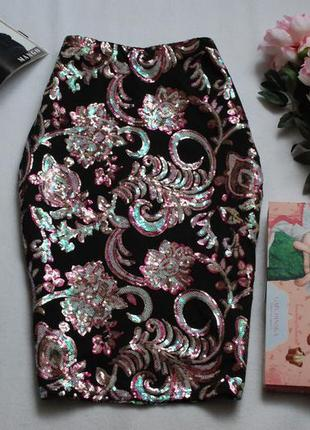 Шикарная юбка карандаш с вышивкой пайетками george 14uk
