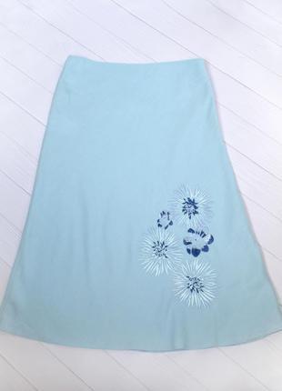 Льняная юбка с вышивкой, размер uk 12