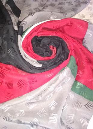 Большой яркий 💯 фактурный шёлк платок, шов роуль