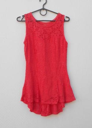 Кружевная нарядная трикотажная летняя блузка из вискозы