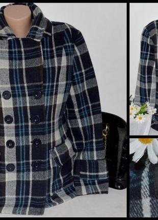 Брендовое демисезонное пальто полупальто с карманами в клетку papaya шерсть