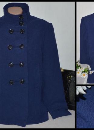 Брендовое демисезонное пальто полупальто с карманами f&f вискоза