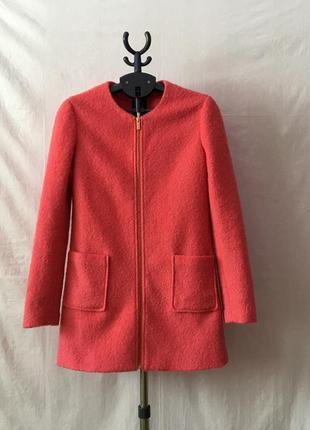 Модное шерстяное пальто бойфренд oversize букле