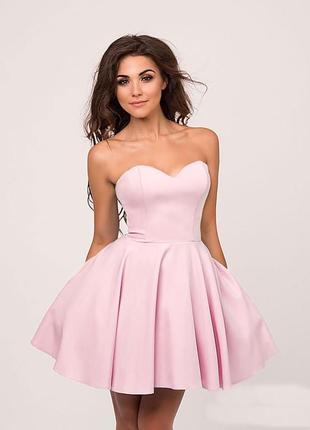Нежное розовое коктейльное платье, платье-миди без бретелек