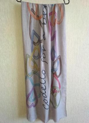 """Codello нежной расцветки шарф палантин""""сердечки"""",шерсть,акрил"""