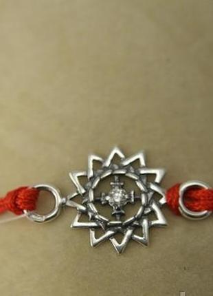Красная нить серебро 925 пробы браслет  эрцгамма 40524
