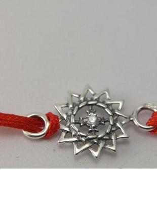 Красная нить серебро 925 пробы браслет  эрцгамма 40523