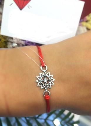 Красная нить серебро 925 пробы браслет  эрцгамма 40521