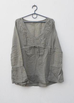 Легкая свободная блузка с вышивкой и пайетками с длинным рукавом