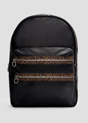 Рюкзак черный экокожа stradivarius