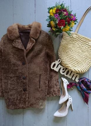 Актуальная трендовая шубка тедди меховое пальто овчина норка №23