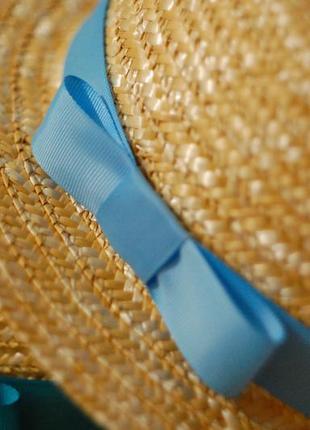 Шляпа канотье с голубым бантиком