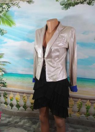 Пиджак красивый трикотаж с напылением 44р