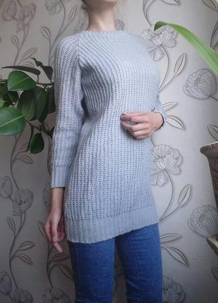 Свитер, вязаное платье-туника, 36-40р одет на 38
