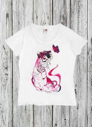 Женская футболка с тигром новая ручная роспись
