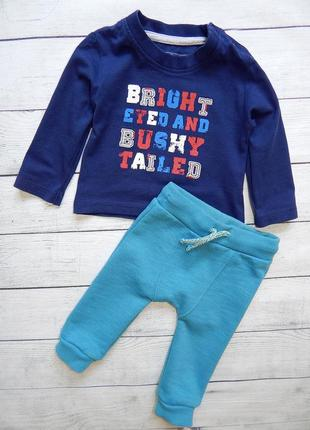 Костюмчик на мальчика 3-6 месяцев, спортивные штаны штанишки на флисе f&f,реглан кофта