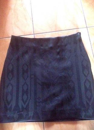 Крутая юбка -карандаш мини с пайетками под кожу