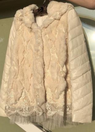 Зимняя шуба с натуральным мехом и натуральной кожей италия