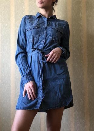 Джинсовая рубашка/сарафан на поясе colins