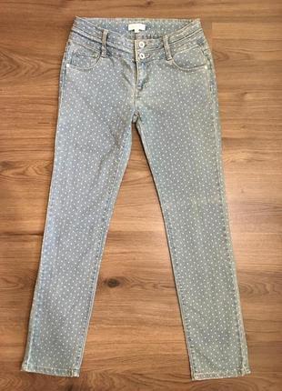 Фирменные голубые джинсы в горох!!