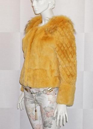 Шуба стриженный кроль,отделка енот.новая полушубок куртка натуральный мех