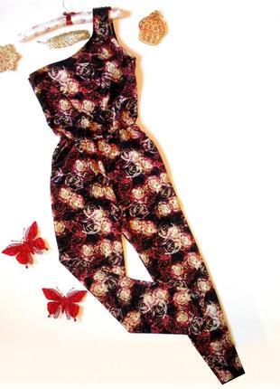 Шикарный брючный комбез в розы комбинезон ромпер брюки