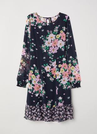 Цветастое шифоновое платье с оборками h&m 2018 s