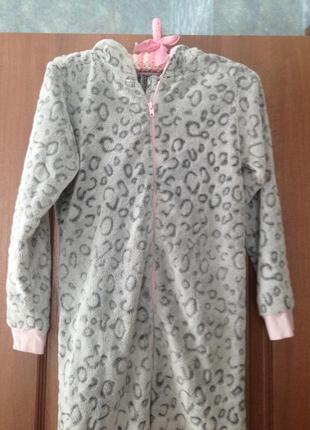 Пушистый человечек кигуруми слип костюм пижама комбинезон 10-11лет милая кошечка