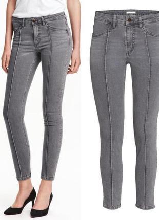 Серые укороченные джинсы 38-м размера h&m,джинсы со стрелками1 фото