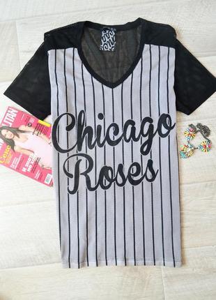 Блузка футболка в баскетбольном стиле в полоску м в сетку оверсайз