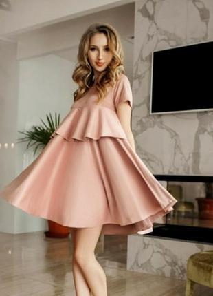 Универсальное замшевое розовое платье / платице волнами / сонцеклеш