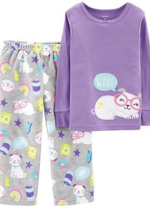 Флисовая  теплая пижама для девочки carter's костюм комплект 24 м