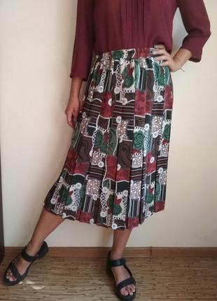 Винтажная юбка миди плиссе, с плиссировкой xl-xxl