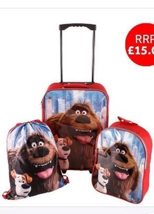 Набор детский чемодан, рюкзак и сумка для обуви