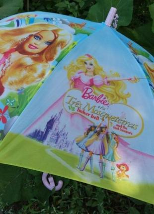 Красивенный яркий детский зонт барби для девочки 4-8 лет круглая хорошая спица