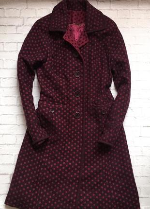 Пальто в горошек. шерстяное пальто. длинное пальто