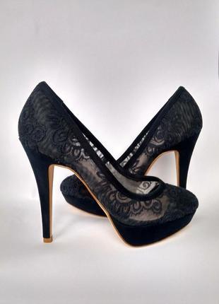 Туфли next низ замша ,верх кружево размер 38.5