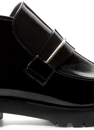 Лаковые черные ботинки zara, p.38