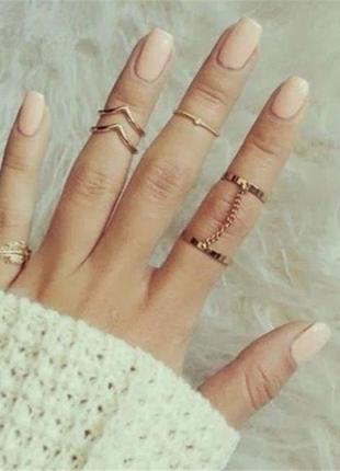 Оригинальные фаланговые кольца  ,под золото