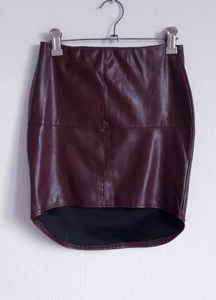 Трендовая юбка в обтяжку кожзам винного цвета1