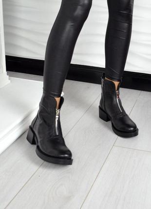 Рр 36-41 натуральная кожа осень(зима) стильные черные ботинки1